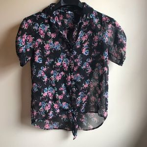 Charlotte Russe Sheer Black Floral Front Tie Top
